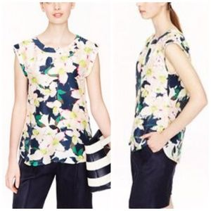 J. Crew Sleeveless drapey top in cove floral, 10